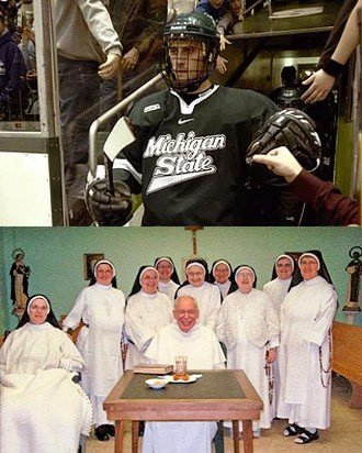 Michigan State hockey player and group of cloistered Dominican nuns