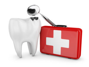 A diagram of a damaged tooth and first-aid kid.